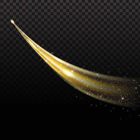Golden wave with trail of comet and sparkling gold stardust, effect bokeh. Luminescent wave with bright bokeh and sparkles trail on transparent background for magic design.