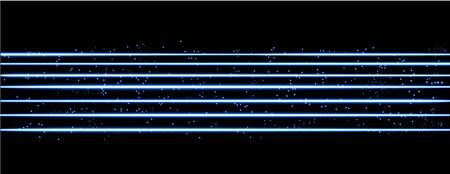 Blue magic wave. Blue neon trail isolated on black background. Luminescent wave with bright bokeh and sparkles.