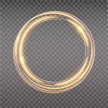 Bright halo. Abstract glowing circles. Light optical effect halo on transparent background. Vector illustration