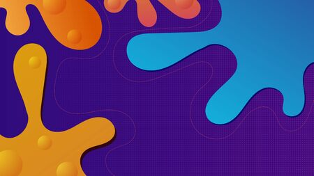 Purple fluid background design. Liquid ameoba shapes composition. Funky design posters. Fluid background design abstract ameoba shapes for print or web on purple background Illustration