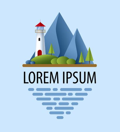 Lighthouse with blue sea, mountains, roks andtree. Lighthouse in ocean for navigation illustration. Island landscape. Logo design