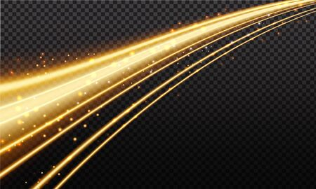 Golden magic wave. Gold trail isolated on transparent background. Luminescent wave with bright bokeh and sparkles.