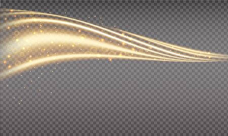 Golden swoosh, magic wave. Gold trail isolated on transparent background. Luminescent waved trail with bright bokeh and sparkles. Swoosh with stradust