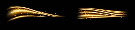 Golden magic wave. Gold trail isolated on transparent background. Luminescent waved trail with bright bokeh and sparkles Illustration