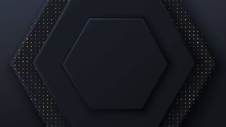 Black honeycomb tiles. Hexagon geometry pattern. Minimal black background of honeycomb for modern cover, ad baner, web.