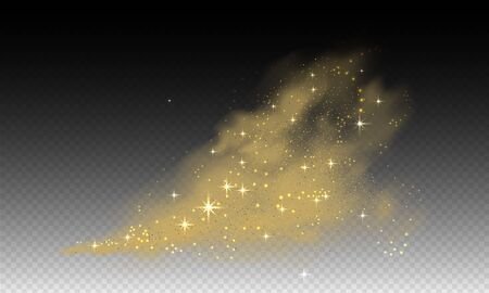Stardust cloud, swoosh, glitter powder spray with star and particles of dust on transparent background. Realistic vector illustration.