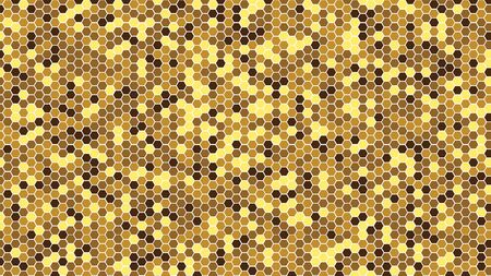 Gold honeycomb tiles. Hexagon geometry pattern. Minimal background of honeycomb for modern cover, ad baner, web.