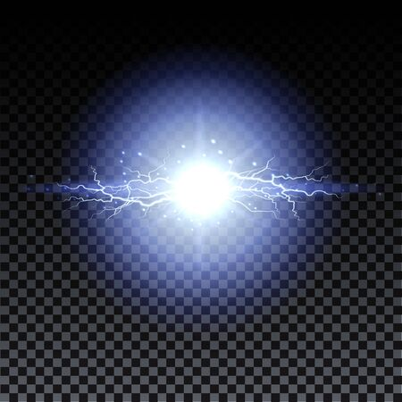 Lightning strikes and sparks, electrical energy on transparent background. Lightning flash and spark. Vector neural cells system.