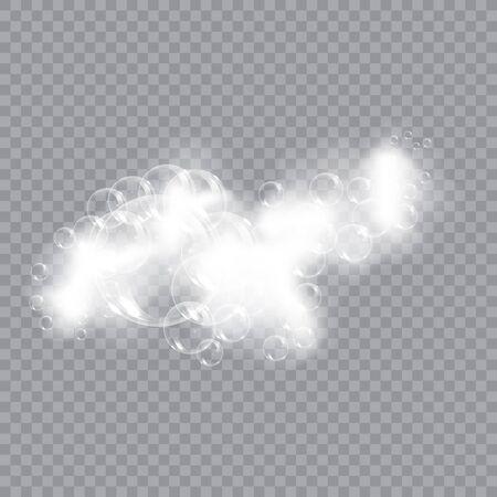 Savon mousse de bain avec illustration vectorielle de bulles isolées sur fond transparent. Illustration vectorielle de shampooing et mousse de savon mousse.