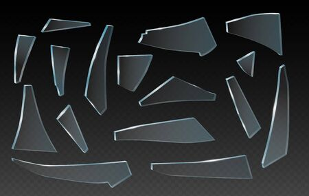Broken glass shards, splinter of glass, vector realistic clip art on transparent background. Pieces of different shapes and splinters. 일러스트