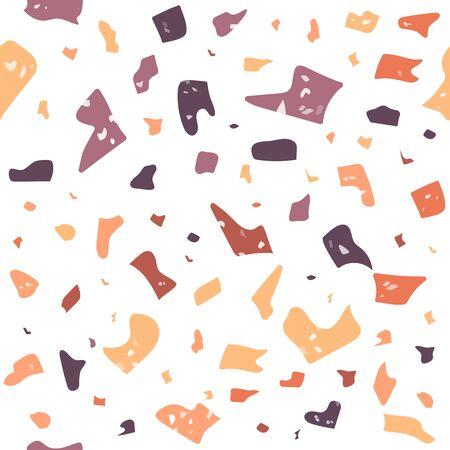Terrazzo flooring vector seamless pattern. Modern vector illustration for fabric print, wrapping paper, flooring. Classic venetian terrazzo style of floor of natural stone, granite, quartz.