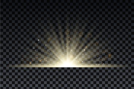 Golden burst with sparkle rays and lens flare effect. Glowing stars. Golden glitter bokeh lights and burst of magical dust particles. Vector illustration.