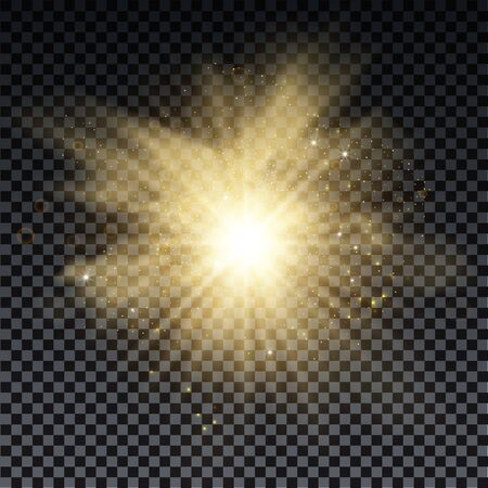 Golden burst with sparkle rays and lens flare effect. Glowing stars. Golden glitter bokeh lights and burst of magical dust particles. Vector illustration