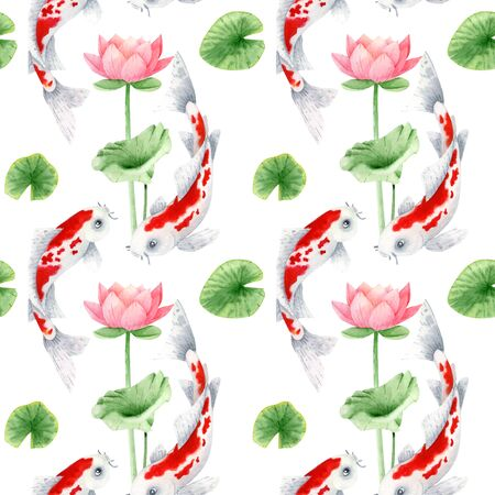 Koi fish with lotos seamless pattern. Traditional japanese koi carp and lotos leaf and flowers pattern. Stock Photo
