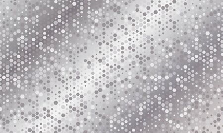 Mirror silver honeycomb tiles. Abstract mosaic geometry pattern. Hexagon minimal mirror background of honeycomb for modern cover, ad baner, web. Vector silver mosaic background.