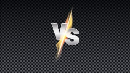 Versus fire battle. MMA concept - fight night, MMA, boxing, wrestling, Thai boxing. VS of metal letters with light fire and glow. Versus battle vector.