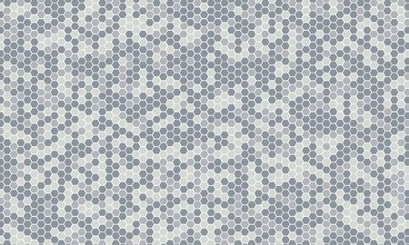 Mirror silver honeycomb tiles. Abstract mosaic geometry pattern. Hexagon minimal mirror background of honeycomb for modern cover, ad baner, web. Vector silver mosaic background