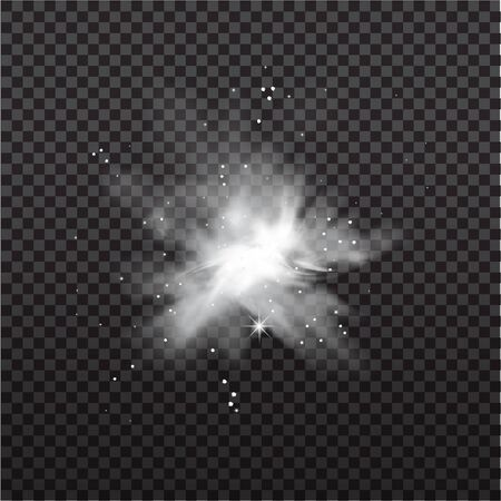 Snow powder. White explosion of snow splash or clouds of powder, design elements for christmas, new year holidays on dark background. Vector illustration.