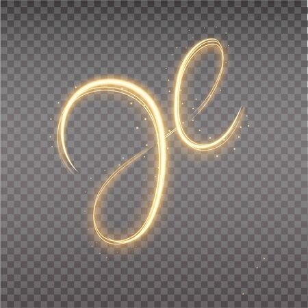 Golden glowing spiral trail. Abstract light speed trail. Shiny wavy spiral, florish. Light painting