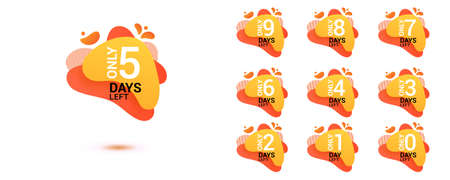 Number days left countdown. Amoeba liquid design label of Days to go for promotion, sale, landing page, template, ui, web, mobile app, poster, banner, flyer. Vector set number countdown 0 to 9.