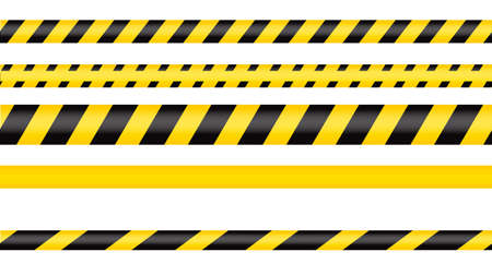Police tape, crime danger line. Caution police lines isolated. Warning tapes. Set of yellow warning ribbons. Vector illustration on white background. Vetores