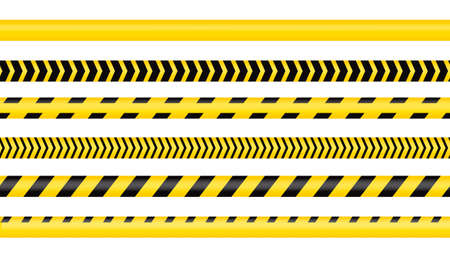 Police tape, crime danger line. Caution police lines isolated. Warning tapes. Set of yellow warning ribbons. Vector illustration on white background. 일러스트