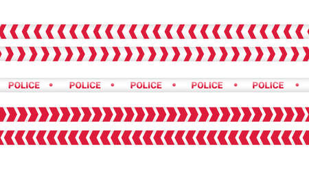 Red police tape, crime danger line. Caution police lines isolated. Warning tapes. Set of red warning ribbons. Vector illustration on white background.