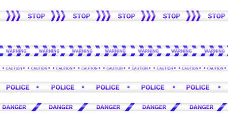 Blue police tape, crime danger line. Caution police lines isolated. Warning tapes. Set of blue warning ribbons. Vector illustration on white background.