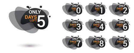 Number days left countdown. Amoeba liquid design label of Days to go for promotion, sale, landing page, template, ui, web, mobile app, poster, banner, flyer. Vector set number countdown 0 to 9