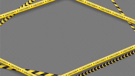 Police tape, crime danger line. Caution police lines isolated. Warning tapes. Set of yellow warning ribbons. Vector illustration on dack transparent background Illustration