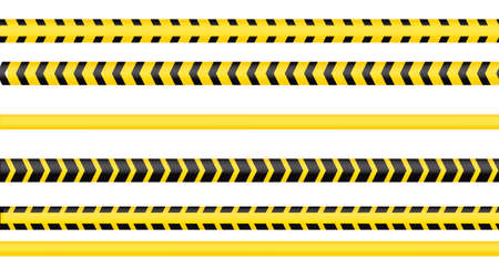 Police tape, crime danger line. Caution police lines isolated. Warning tapes. Set of yellow warning ribbons. Vector illustration on white background