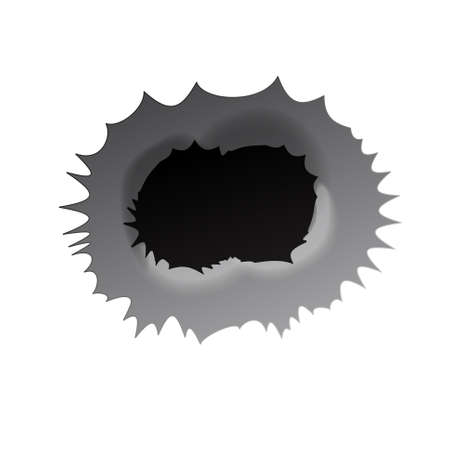 Bullet double hole on white background. Realisic metal bullet hole, damage effect. Vector illustration. Vettoriali