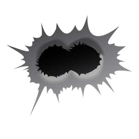 Bullet double hole on white background. Realisic metal bullet hole, damage effect. Vector illustration.