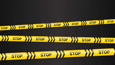 Police tape, crime danger line. Caution police lines isolated. Warning tapes. Set of yellow warning ribbons. Vector illustration on dack transparent background. Ilustracja
