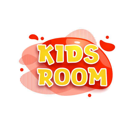 Kids zone vector cartoon banner. Colorful letters for childrens playroom decoration. Sign for childrens game room. Kids zone and party room game education fun area design. Vector illustration.
