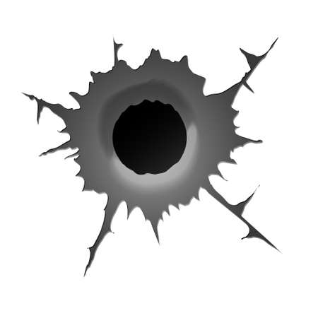 Bullet hole on white background. Realisic metal bullet hole, damage effect. Vector illustration.