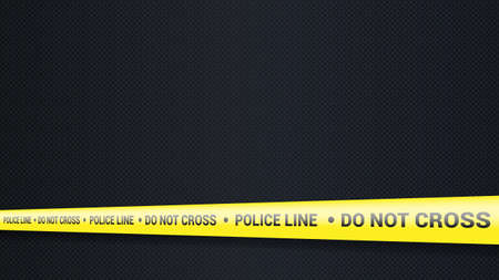 Police tape, crime danger line. Caution police lines isolated. Warning tapes. Set of yellow warning ribbons. Vector illustration on carbon background.