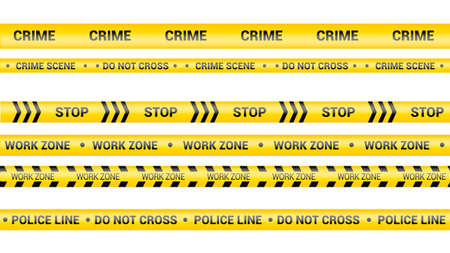 Police tape, crime danger line. Caution police lines isolated. Warning work zone tapes. Set of yellow warning ribbons. Vector illustration on white background.
