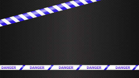 Police tape, crime danger line. Caution police lines isolated. Warning tapes. Set of blue warning ribbons. Vector illustration on dark transparent background. Ilustração