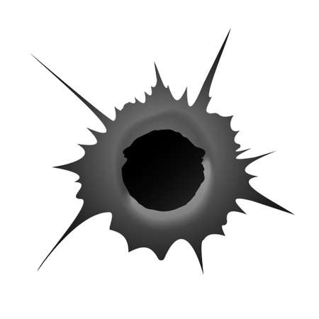 Bullet hole on white background. Realisic metal bullet hole, damage effect. Vector illustration.