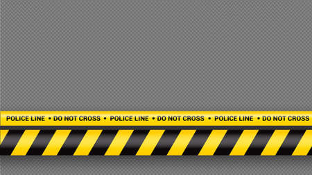 Police tape, crime danger line. Caution police lines isolated. Warning tapes. Set of yellow warning ribbons. Vector illustration on white background. Ilustração