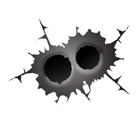 Bullet double hole on white background. Realisic metal bullet hole, damage effect. Vector illustration.