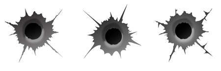 Bullet hole on white background. Set of realisic metal bullet hole, damage effect. Vector illustration.