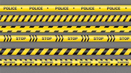 Police tape, crime danger line. Caution police lines isolated. Warning tapes. Set of yellow warning ribbons. Vector illustration on dack transparent background. Ilustração