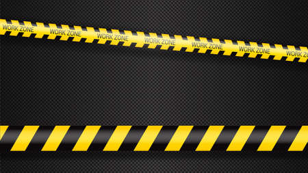 Police tape, crime danger line. Caution police lines isolated. Warning tapes. Set of yellow warning ribbons. Vector illustration on white background.Work zone.