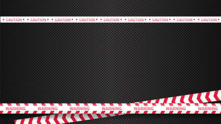 Police tape, crime danger line. Caution police lines isolated. Warning tapes. Set of red warning ribbons. Vector illustration on dark transparent background.