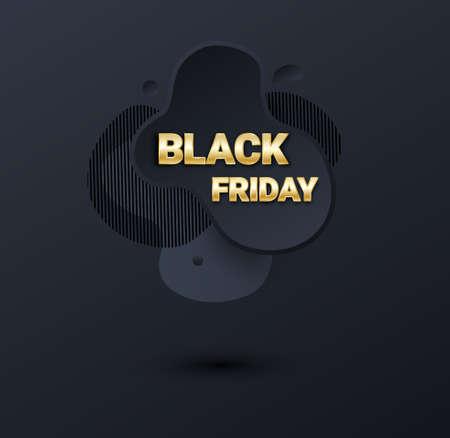 Black friday sale banner or poster with liquid splash background. Black friday commercial banner, 3d dynamic shapes and golden letters. Vector business illustration.
