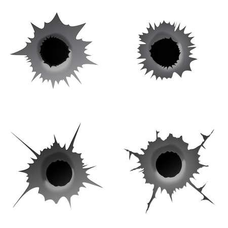 Bullet hole on white background. Set of realisic metal bullet hole, damage effect. Vector illustration.
