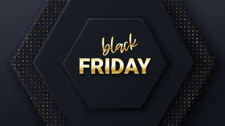 Black friday sale banner or poster with black honeycomb tiles. Black friday commercial banner. Hexagon geometry pattern. Minimal black background of honeycomb for modern cover, ad baner, web.