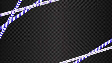 Police tape, crime danger line. Caution police lines isolated. Warning tapes. Set of blue warning ribbons. Vector illustration on dark transparent background. Illustration
